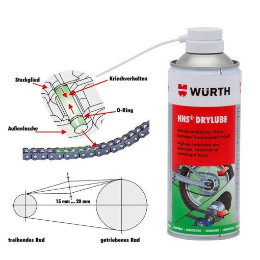 Dung dịch bôi trơn dạng khô Wurth Adhesive Lubricant HHS Drylube 400ml