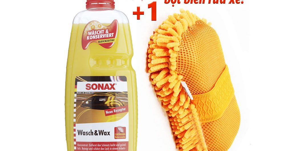Nước rửa xe bóng sơn Sonax Wash & Wax và Bọt Biển Rửa Xe