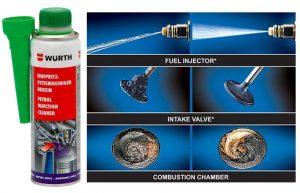 Dung môi pha xăng, Làm sạch hệ thống xăng và buồng đốt Wurth Petrol injection system cleaner 300ml