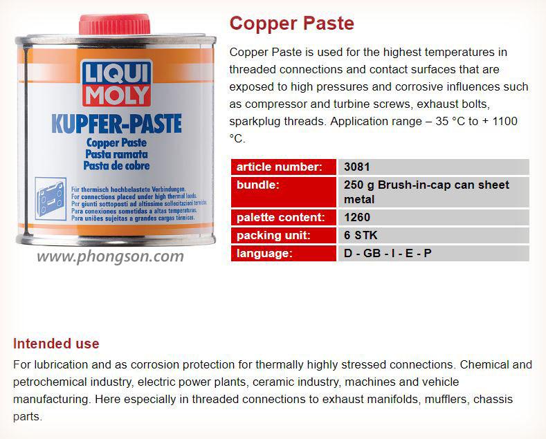 Mỡ bò đồng chịu nhiệt Liqui Moly Copper Paste 3081 - phongson