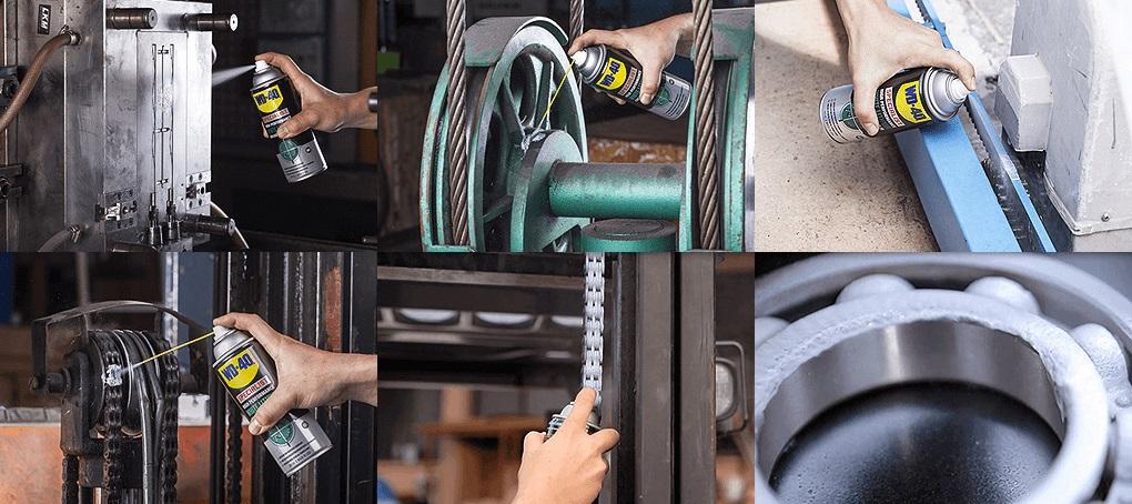 Mỡ bò nước WD-40 bảo dưỡng và bôi trơn cho các khớp nối kim loại, chốt, bản lề, vòng bi, cáp, băng tải, dây xích, trục động cơ, đường rãnh, pít-tông,…