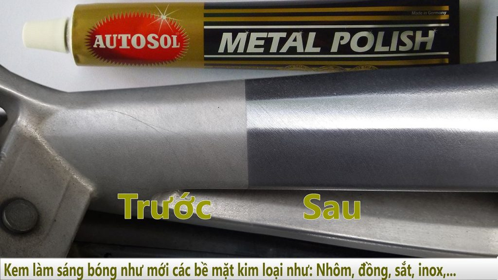 Autosol làm sáng kim loại xóa xước đánh bóng bề mặt kim loại
